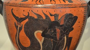 Herakles fighting Triton